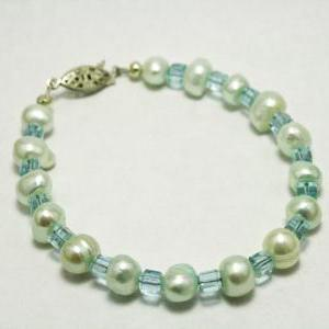 Light Blue Potato Pearl Bracelet
