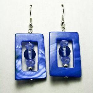 ON SALE Blue Shell and Glass Square..