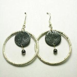 ON SALE Silver and Black Metal Hoop..