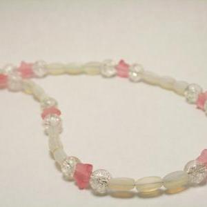 CLEARANCE White Glass and Pink Star..