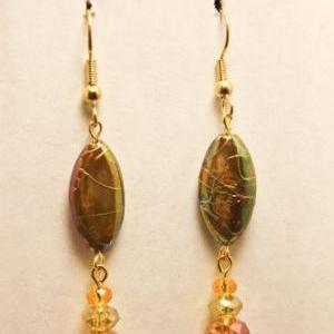 ON SALE Gold and Tan Abalone Shell ..