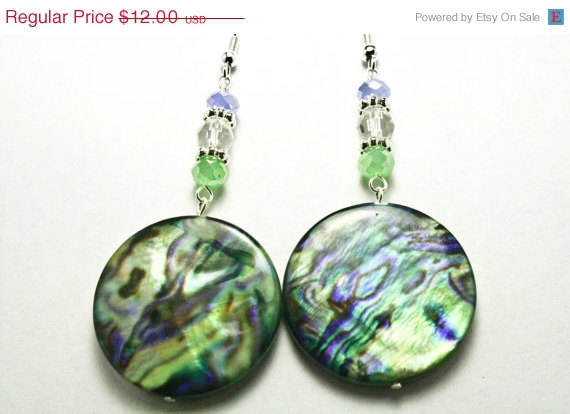 ON SALE Green and Blue Swirl Earrings