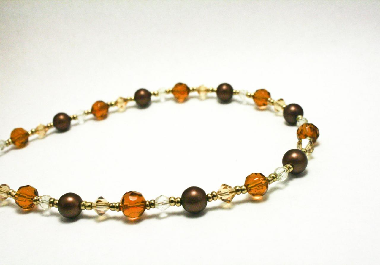 Brown and Tan Pearl Necklace