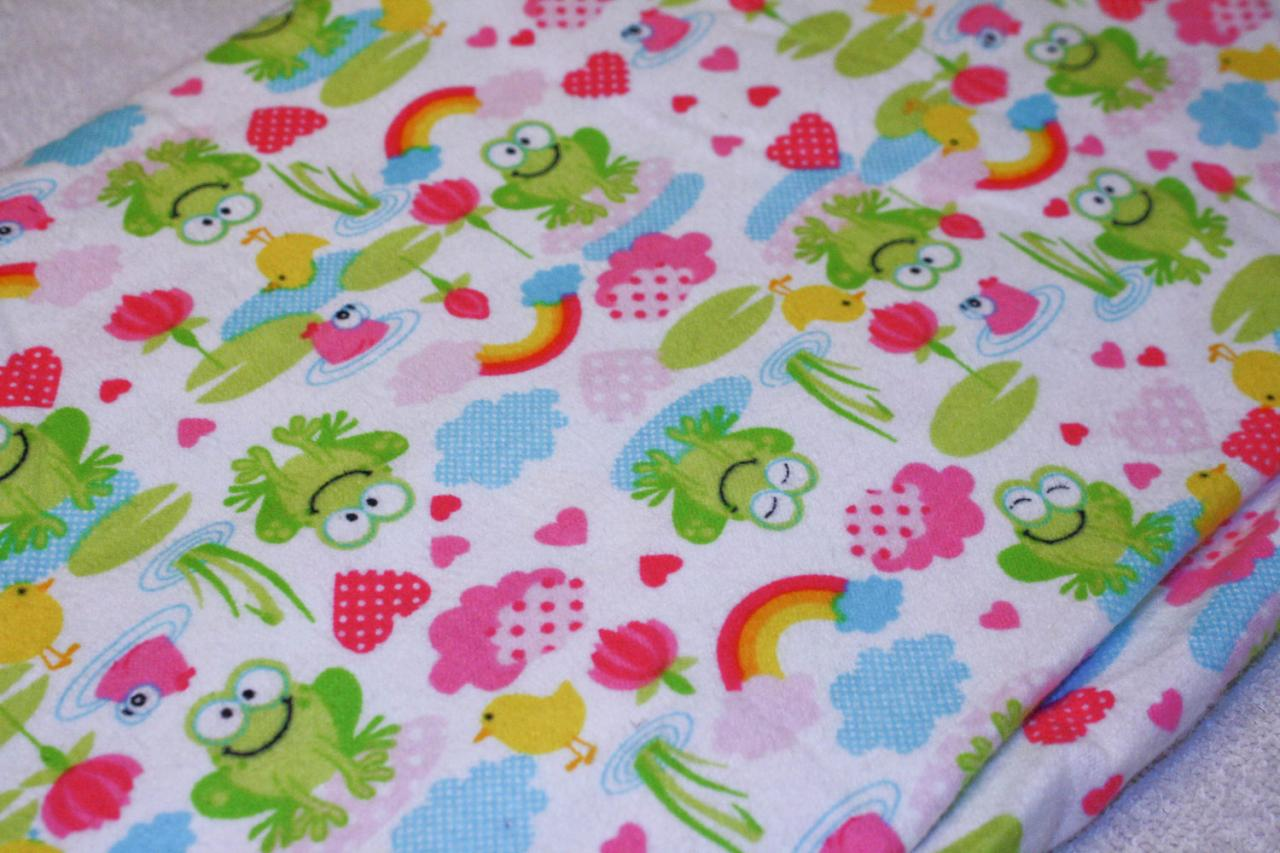 CLEARANCE Baby Girl Frog and Rainbow Flannel Fitted Crib Sheet