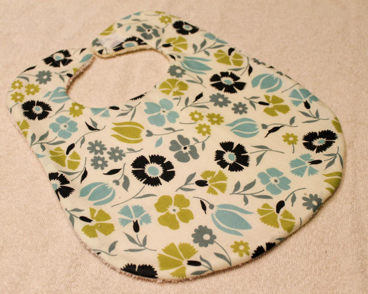 Baby Girl Blue and Green Flower Print Bib