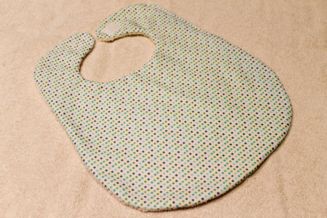 Blue, Green, and Purple Square Pattern Baby Bib