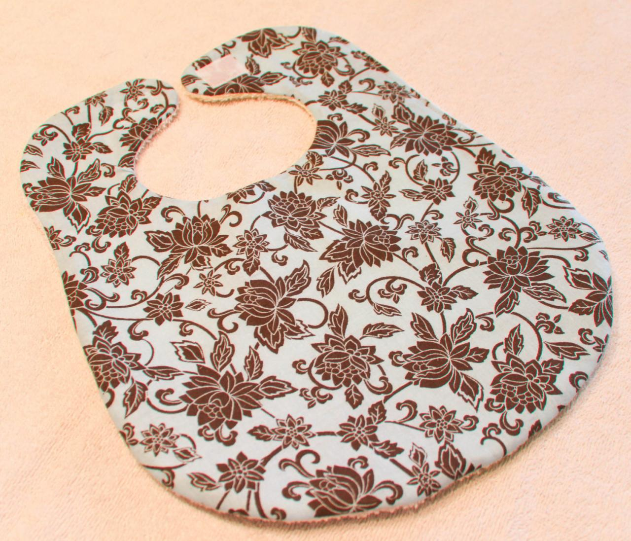 Baby Girl Blue with Brown Flowers Bib