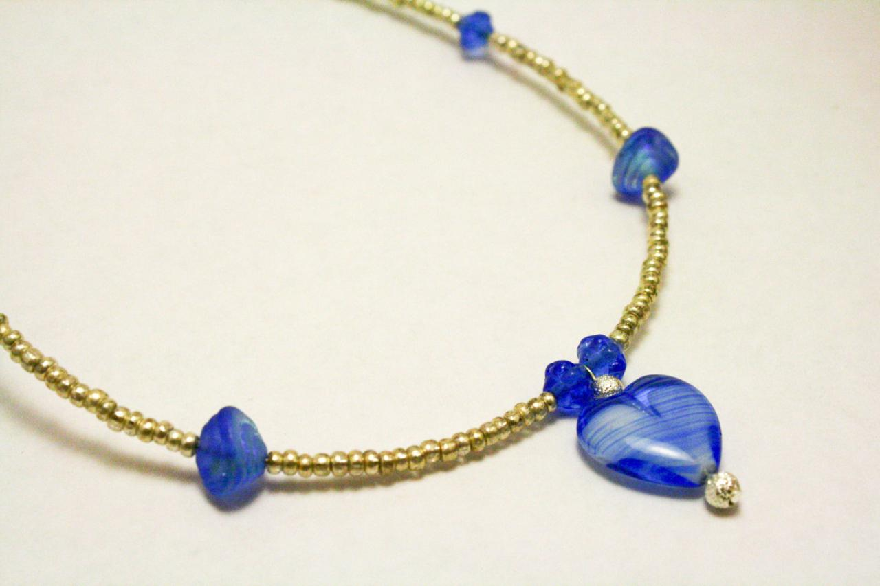 Silver and Blue Glass Heart Necklace