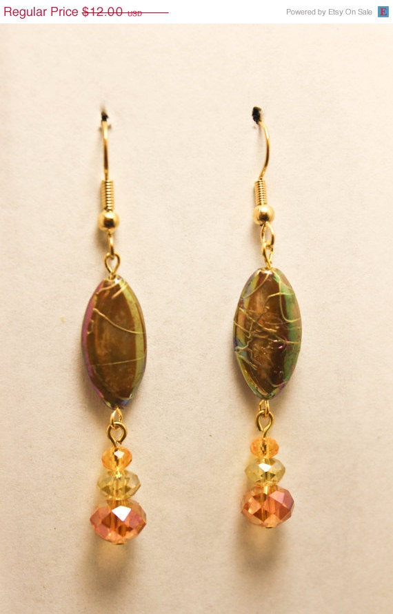 ON SALE Gold and Tan Abalone Shell Dangle Earrings