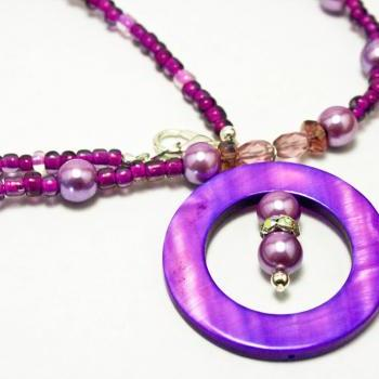 Bright Purple Pearl and Shell Necklace