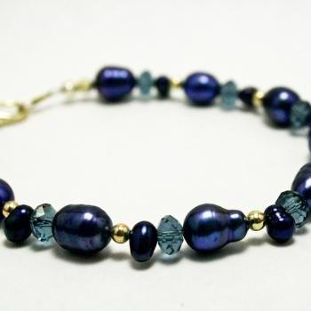 Dark Blue and Silver Pearl Bracelet