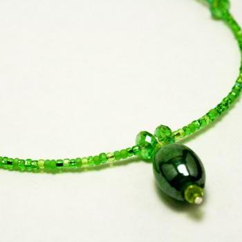 CLEARANCE Green Emerald and Gold Necklace