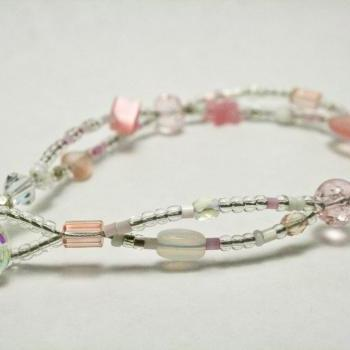 Pink and White Mixed Glass Bead Bracelet