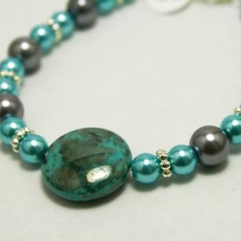 Silver and Teal Pearl Bracelet