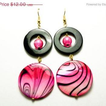 ON SALE Hott Pink and Black Shell Zebra Print Earrings