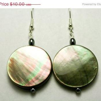 ON SALE Grey Solid Shell Earrings