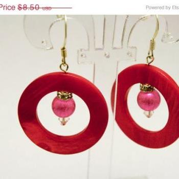 ON SALE Hot Pink Shell Hoop Earrings