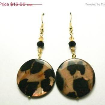 ON SALE Brown and Tan Leopard Print Earrings