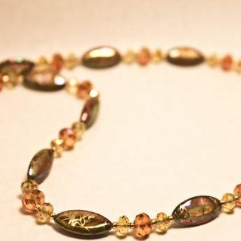 Gold and Tan Abalone Shell Necklace