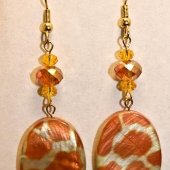 ON SALE Yellow Giraffe Print Dangle Earrings